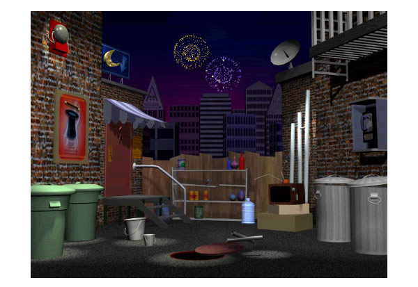3-D Animated Alleyway concept art