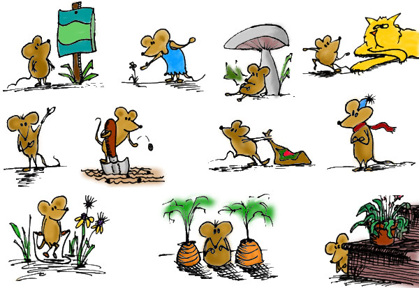 Gardening Mice illustrations