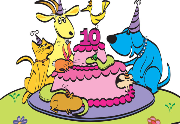 Petfinder 10th Anniversary card illustration